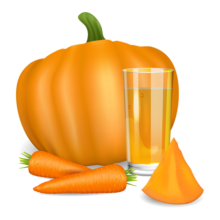 carrot juice: Glass with pumpkin and carrot juice. Pumpkin and carrot. Natural vegetable drink, healthy organic food. Realistic vector illustration