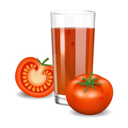 tomato juice: Tomato juice. Red tomato juice in glass. Natural vegetable drink, healthy organic food. Realistic vector illustration