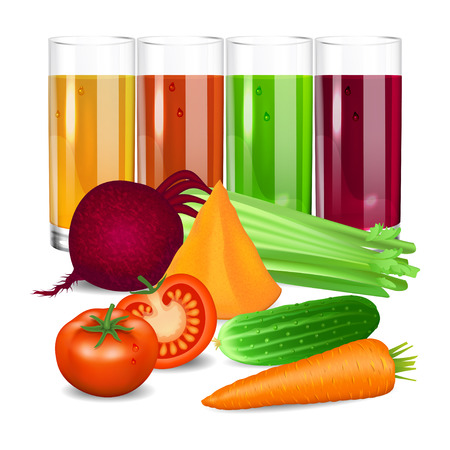 pumpkin tomato: Vegetable juices. Cucumber, tomato, carrot, pumpkin, beets and celery. Natural vegetable drink, healthy organic food. Realistic vector illustration