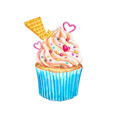 vanilla cupcake: Watercolor cupcake. Watercolor vanilla cupcake. Hand drawn Watercolor cupcake with decoration, cream and hearts. Sweet tasty food illustration