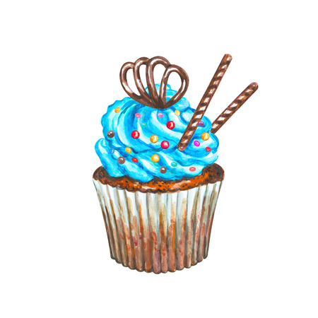 cupcake illustration: Watercolor cupcake. Watercolor chocolate cupcake. Hand drawn Watercolor cupcake with decoration, cream and chocolate. Sweet tasty food illustration Stock Photo
