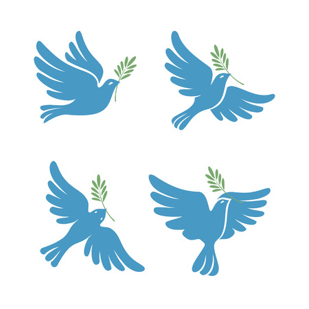 Flying dove vector sketch set. Dove of Peace. Silhouette of a flying dove with olive branch. White dove, bird dove, white pigeon doodle collection. Vector illustration 일러스트