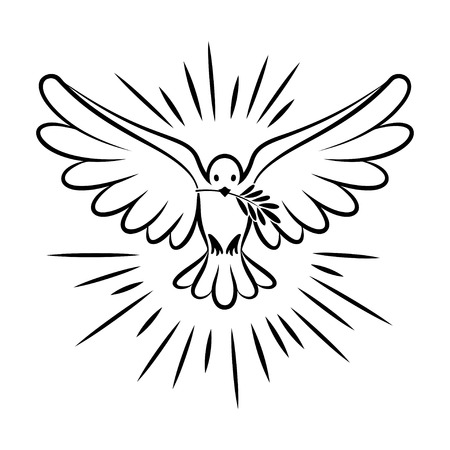 Flying dove vector sketch. Dove of Peace. Silhouette of a flying dove with olive branch. White dove, bird dove, white pigeon doodle. Vector illustration  イラスト・ベクター素材