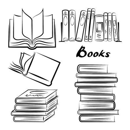 magazine stack: Sketch of books. Hand drawn books set. Opened and closed books. Books vector. Doodle book collection icon set. Vector illustration