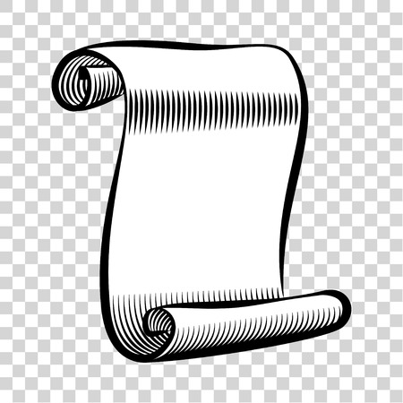 rolled paper: Paper scroll icon. Illustration of rolled paper scroll. Scroll of hand drawn sketch style. Paper scroll vector. Icon isolated on background. Vector illustration