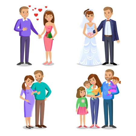 fasi famiglia felice. La creazione della famiglia felice. Felice illustrazione vettoriale famiglia. Coppia giovane, sposi, marito e moglie, coppia aspetta un bambino. Padre, madre e figli insieme