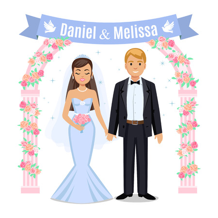 wedding couple: Happy wedding couple. Wedding couple and floral frame. Bride and groom on their wedding day. Wedding couple vector illustration isolated on white background. Cute cartoon wedding couple Illustration