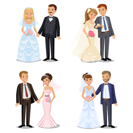 Set of Happy wedding couples. Different types Wedding couple collection. Bride and groom on their wedding day. Wedding couple vector illustration isolated on white background. Cute wedding couple