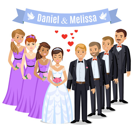 Happy wedding couple. Wedding couple with bridesmaids and groomsman. Bride and groom on their wedding day. Wedding couple vector illustration isolated on white background. Cute cartoon wedding couple 일러스트