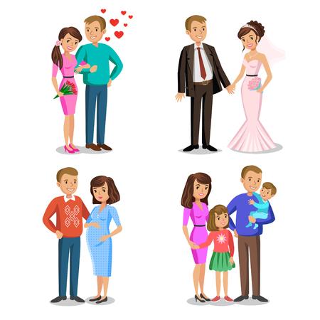 Glückliche Familie Stufen. Erstellen der glücklichen Familie. Glückliche Familie Vektor-Illustration. Junges Paar, Hochzeit Paar, Mann und Frau, Paar erwartet ein Baby. Vater, Mutter und Kinder zusammen