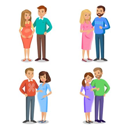 愛、期待の両親、夫と妊娠中の女性の典型的な家族のセットです。人カップル、ベクトル図は夫と妊娠中の女性  イラスト・ベクター素材