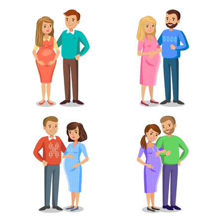 expectant: Set of typical family in love, expectant parents, pregnant woman with her husband. People couples, pregnant woman with husband, vector illustration