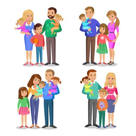 family isolated: Set of typical family in love. Happy family portrait, smiling parents and kids. Concept happy family, family love. Vector illustration isolated on white