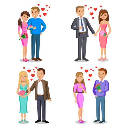 Conjunto de parejas felices. Pareja romántica, amor, las relaciones y el concepto de citas. El hombre da ramo de la mujer. ilustración vectorial par aislado en el fondo blanco