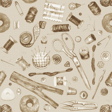 Nahtlose Aquarell Muster Von Verschiedenen Nähwerkzeuge. Nähzeug ...