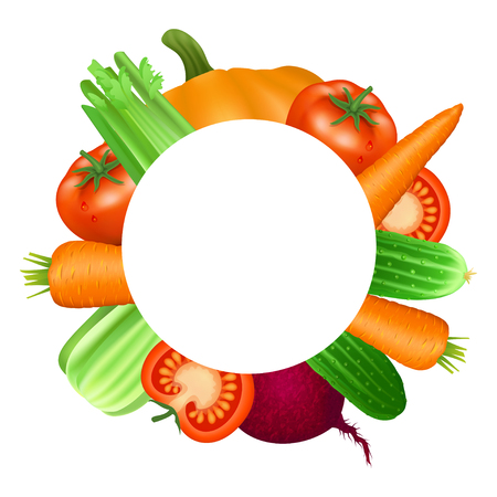 fresh vegetable: Frame of vegetables. Tomato, carrot, cucumber, celery and beets. Natural bio vegetable, healthy organic food. Realistic vector illustration Illustration