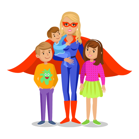 Cartoon superhero woman in red cape, female superhero, mother superhero with children's. Vector illustration Reklamní fotografie - 58062694