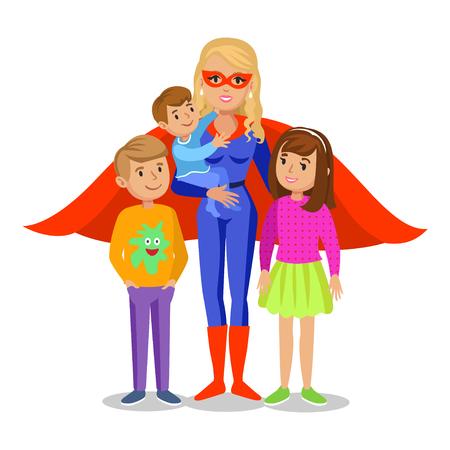 Cartoon superhero woman in red cape, female superhero, mother superhero with childrens. Vector illustration