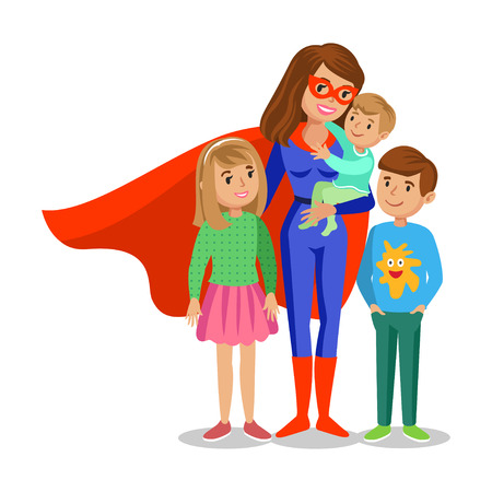 Cartoon superhero woman in red cape, female superhero, mother superhero with children's. Vector illustration