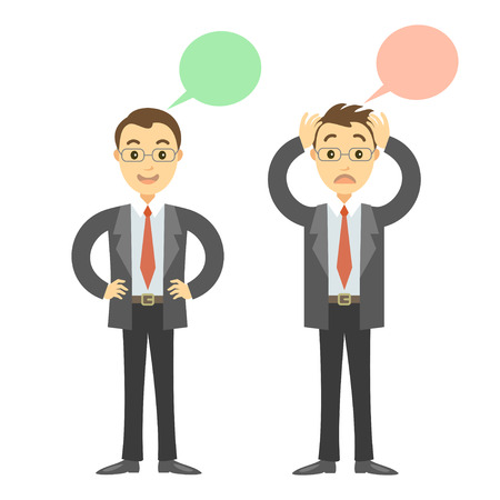 happy employees: Two businessmen in different poses, sad and happy businessmen. Concept of success or falling in business. Cartoon vector businessmen