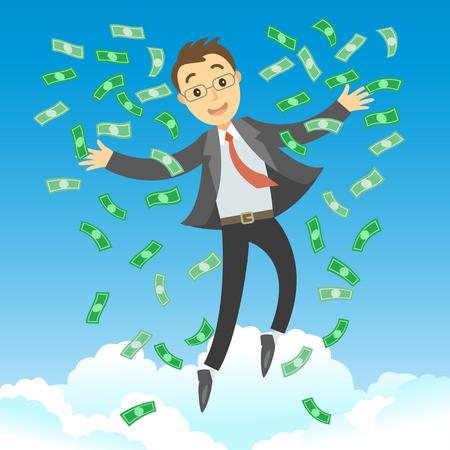 Gelukkige rijke succesvolle zakenman die in de lucht met groene geldrekeningen springt. Zakenman die voor zijn succes met dollars bankbiljetten verblijft die in de lucht vliegen. Zakelijke succes concept vector cartoon illustratie