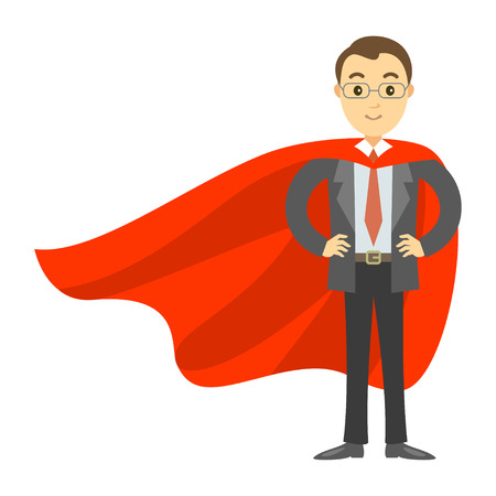 invincible: Superhero businessman in red cape. Concept of success, leadership and victory in business. Vector illustration Illustration