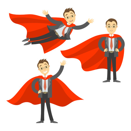 invincible: Set of superhero businessman in red cape. Concept of success, leadership and victory in business. Vector illustration