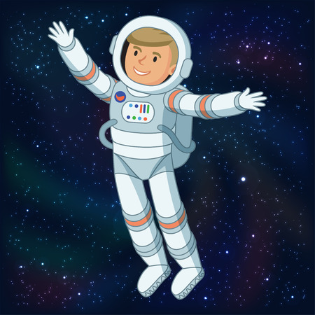 cartoon astronaut: Astronaut in outer space, astronaut floating in space, cosmic scene with space and stars. Vector illustration