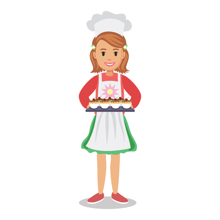 Girl holding cakes, muffins, cupcakes. Baker girl, girl-chef. Cute cartoon girl with cakes. Vector illustration