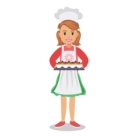 Niña de la celebración pasteles, magdalenas, bizcochos. chica Baker, chica-chef. niña de dibujos animados lindo con tortas. ilustración vectorial