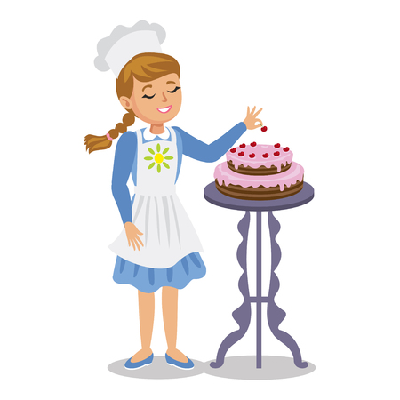 pinafore: Girl decorates a cake with cherries. Cute cartoon girl with cake. Vector illustration Illustration