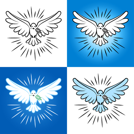 Set of silhouette of a flying dove with olive branch. White dove, bird dove, white pigeon doodle. Vector illustration