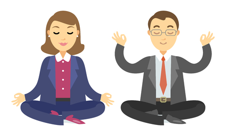 Two businessmen doing meditation. Man and woman doing yoga meditation or relaxing. Vector cartoon illustration Illustration