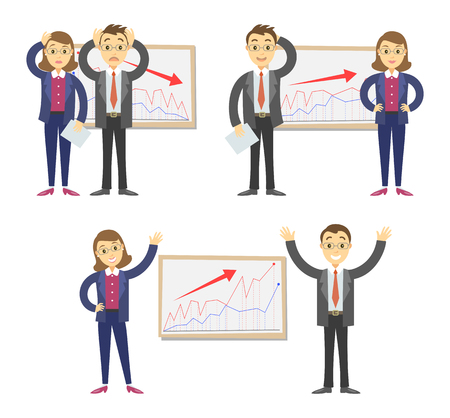 failing: Businessmen and businesswomen on the background of the graph. Concept of success and failing in business. Vector illustration Illustration