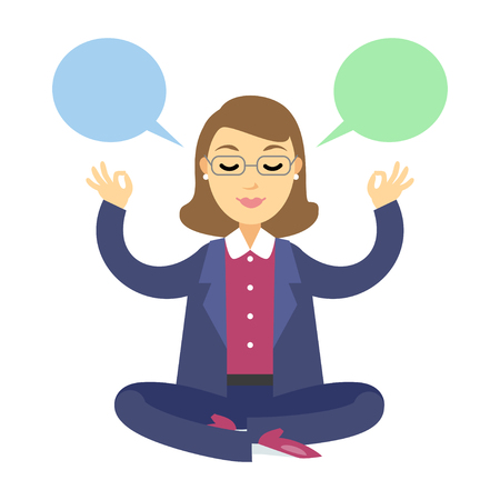 yoga meditation: Businesswoman thinking during meditation. Woman doing yoga meditation or relaxing, choose right decisions. Vector cartoon illustration Illustration