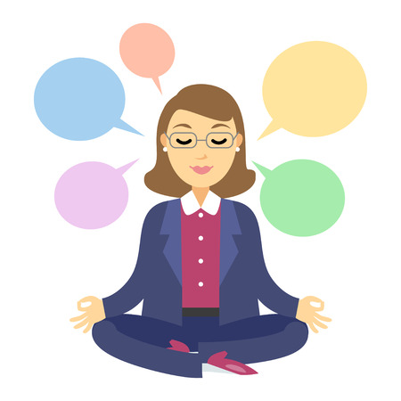 Businesswoman thinking during meditation. Woman doing yoga meditation or relaxing, choose right decisions. Vector cartoon illustration Ilustração