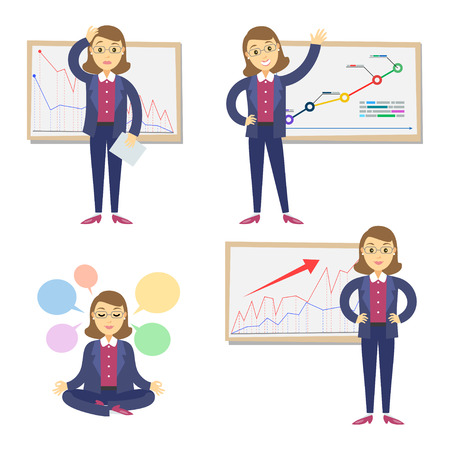 failing: Set of businesswomen on the background of the graph. Cartoon businesswomen and graph. Concept of success and failing in business.Vector