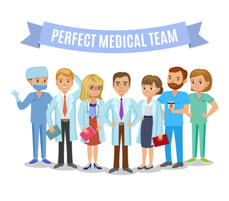 Equipo médico. Conjunto de personal médico del hospital. Los médicos, enfermeras y el cirujano. Cuidado de la salud y el concepto médico. Ilustración del vector