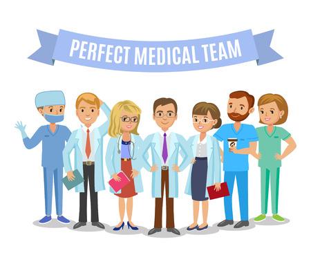 Zespół medyczny. Zestaw szpitalnego personelu medycznego. Lekarze, pielęgniarki i chirurg. Służba zdrowia i koncepcji medycznej. Ilustracja wektorowa