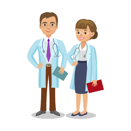 medical team: Medical team. Two doctors with stethoscopes, man and woman. Healthcare and medical concept. Vector Illustration