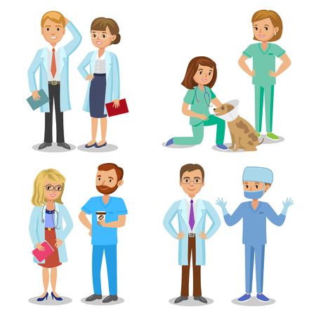 cirujano: Equipo médico. Conjunto de personal médico del hospital. Los médicos, enfermeras y el cirujano. Cuidado de la salud y el concepto médico. Ilustración del vector