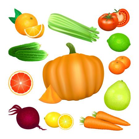 beets: Set of vegetables and citrus fruits. Tomato, carrot, pumpkin, cucumber, celery, beets, orange, lemon, lime, grapefruit, pomelo, mandarin. Natural bio vegetable, healthy organic food. Vector illustration