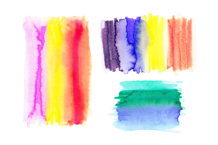 ombre: Watercolor Rainbow Backgrounds. Ombre Watercolor Backgrounds. Abstract watercolor hand paint texture, isolated on white background Stock Photo