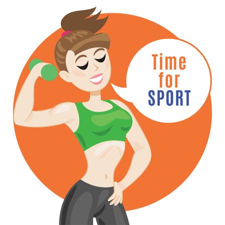 Sportieve jonge vrouw in sportkleding. Fit meisje met halters. Lachend cartoon meisje zegt: laten we het doen fitness. Sport concept, vector illustratie Vector Illustratie