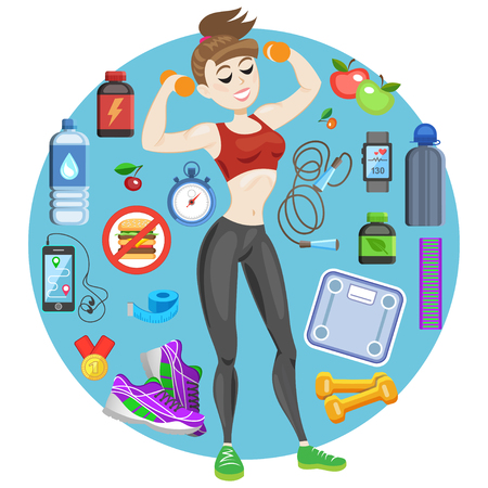 sporty: Sporty young woman in sportswear. Fit girl with dumbbells. Smiling cartoon girl with fitness kit elements. Sport concept, vector illustration