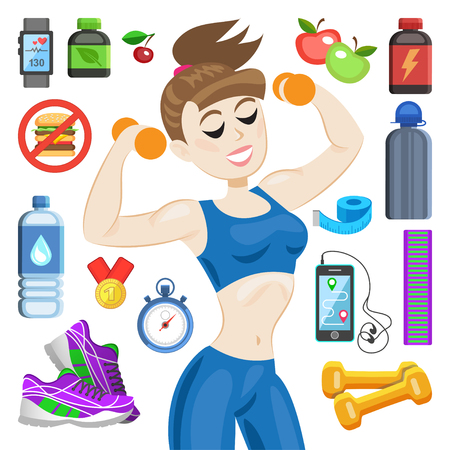 sportswear: Sporty young woman in sportswear. Fit girl with dumbbells. Smiling cartoon girl with fitness kit elements. Sport concept, vector illustration