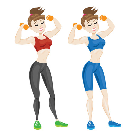 sporty: Sporty young woman in sportswear. Fit girl with dumbbells. Vector illustration