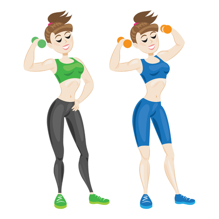 sportswear: Sporty young woman in sportswear. Fit girl with dumbbells. Vector illustration