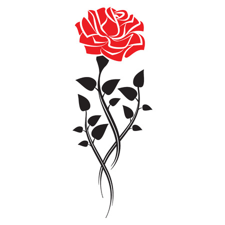 rose tattoo: Black silhouette of rose with leaves. Tattoo style rose. Vector illustration Illustration