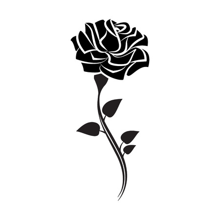 Black silhouette of rose with leaves. Tattoo style rose. Vector illustration Çizim